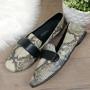 db7c1e170f2 Newbark Frankie Loafer Black   Ivory Snake Leather